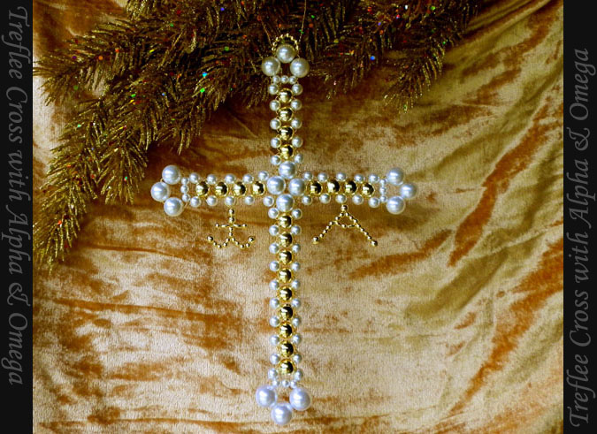 Treflee Cross with Alpha and Omega